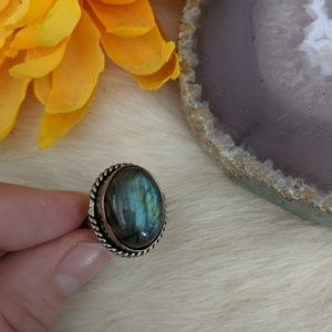 Rainbow Labradorite Sterling Silver Ring Size 8